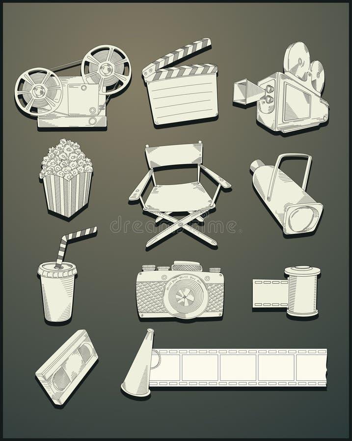 teckningslinjen film objects vektorn vektor illustrationer