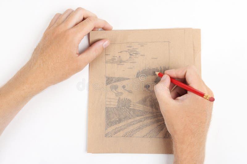 teckningsmanbild arkivfoton