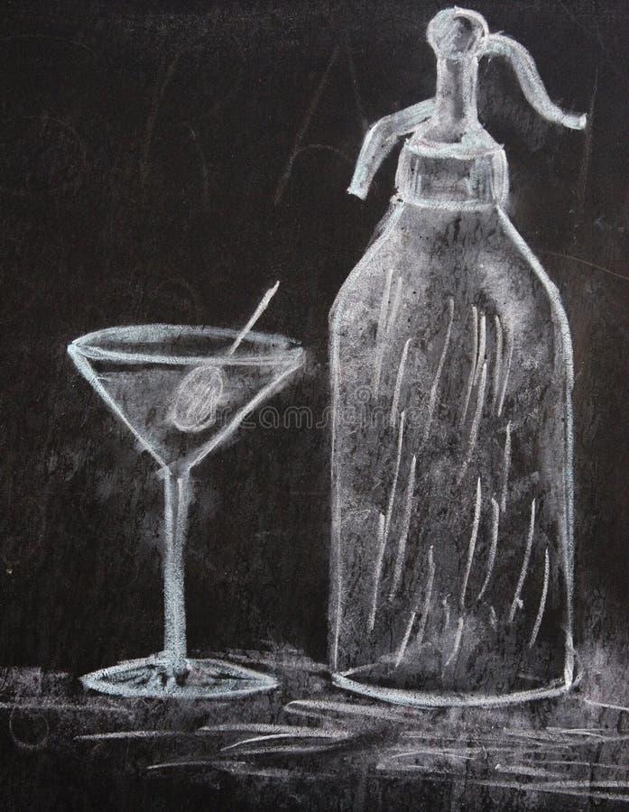 teckningsmartini sodavatten royaltyfri bild