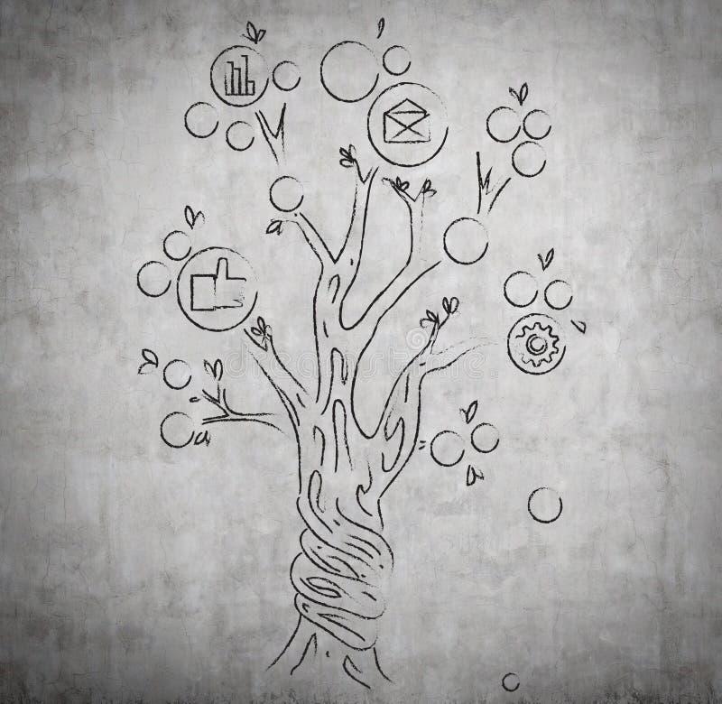Teckningspengarträd arkivbild