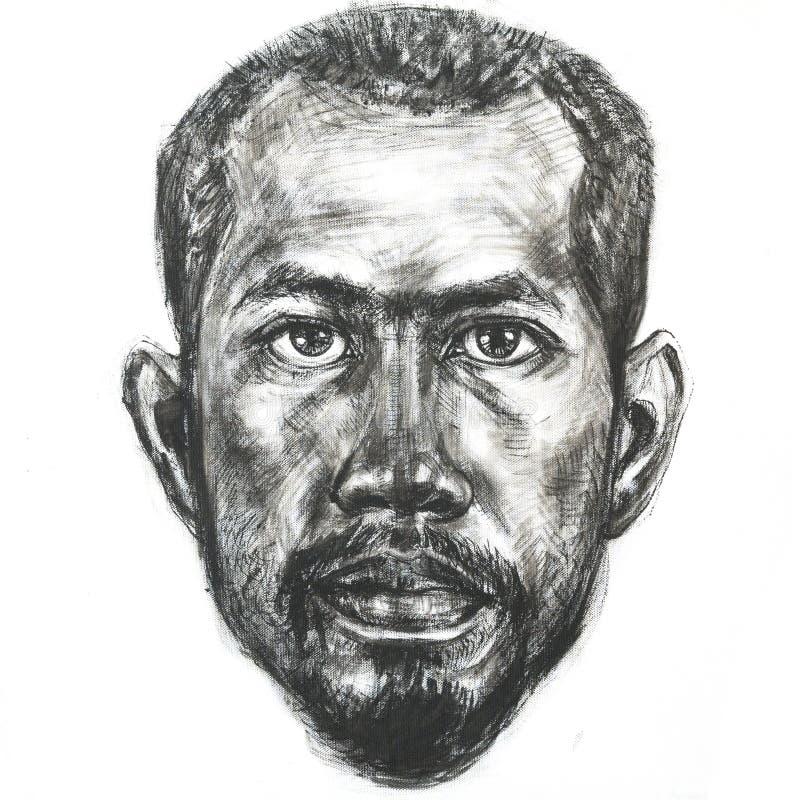 Teckningsstående av den asiatiska mannen med svart färgpulver på kanfas vektor illustrationer