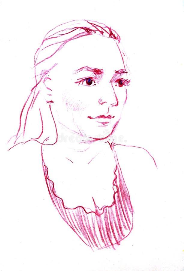Teckningsstående av den unga kvinnan Kvinnligt vända mot Skissa av härlig flicka royaltyfri illustrationer