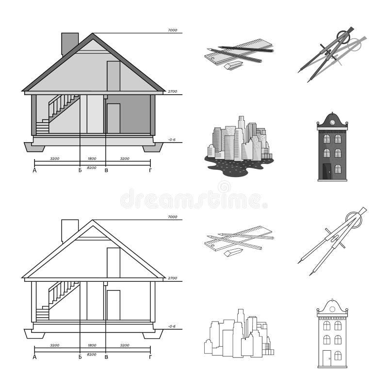 Teckningstillbehör, metropolis, husmodell E royaltyfri illustrationer