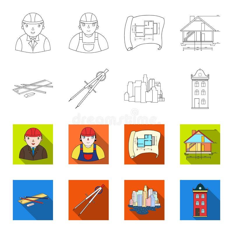 Teckningstillbehör, metropolis, husmodell Fastställda samlingssymboler för arkitektur i översikten, symbol för lägenhetstilvektor stock illustrationer