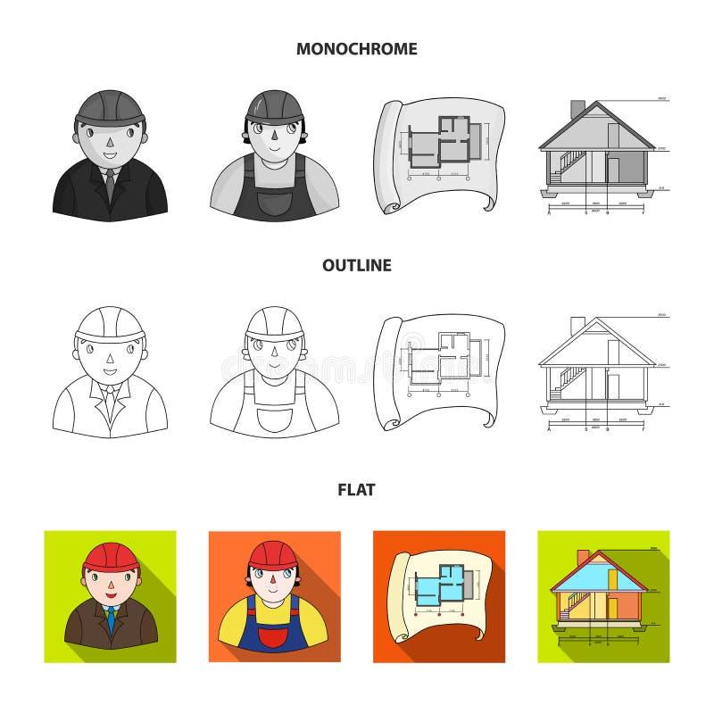 Teckningstillbehör, metropolis, husmodell Fastställda samlingssymboler för arkitektur i lägenheten, översikt, monokrom stilvektor vektor illustrationer