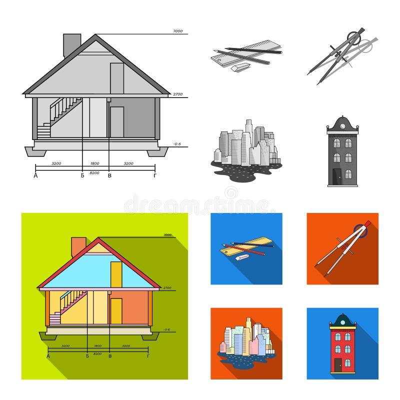 Teckningstillbehör, metropolis, husmodell Fastställda samlingssymboler för arkitektur i monokrom, symbol för lägenhetstilvektor vektor illustrationer