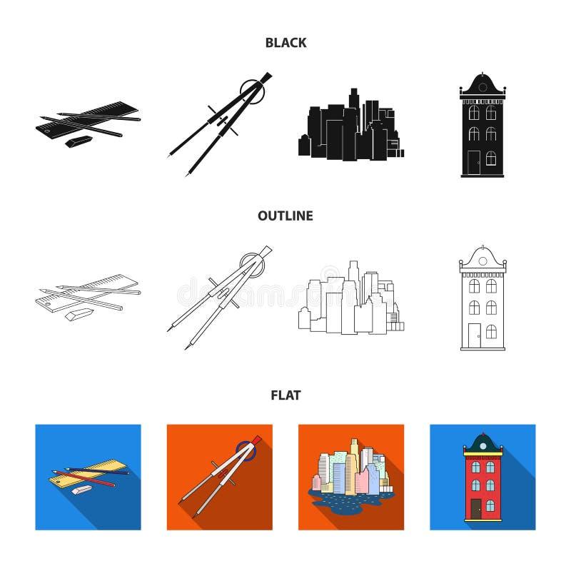 Teckningstillbehör, metropolis, husmodell Fastställda samlingssymboler för arkitektur i svart, lägenhet, översiktsstilvektor royaltyfri illustrationer