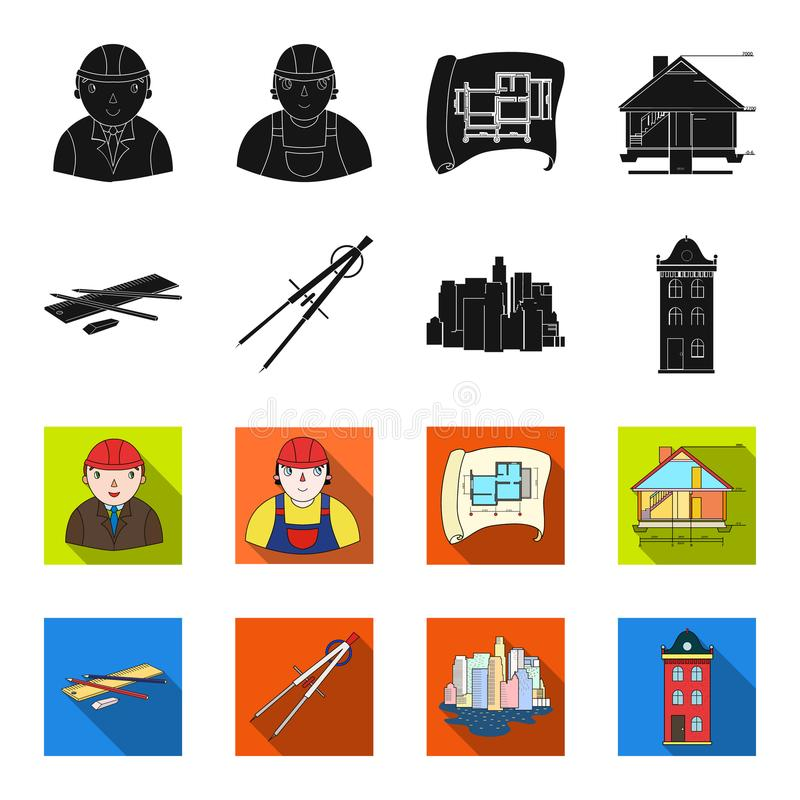 Teckningstillbehör, metropolis, husmodell Fastställda samlingssymboler för arkitektur i svart, materiel för symbol för fletstilve royaltyfri illustrationer
