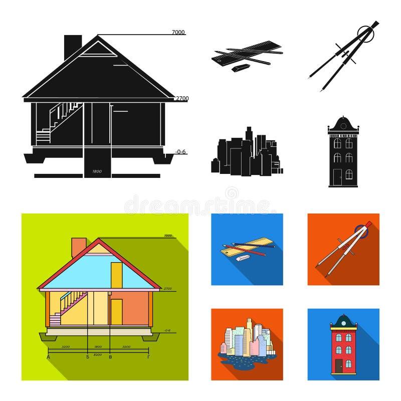Teckningstillbehör, metropolis, husmodell Fastställda samlingssymboler för arkitektur i svart, materiel för symbol för lägenhetst royaltyfri illustrationer