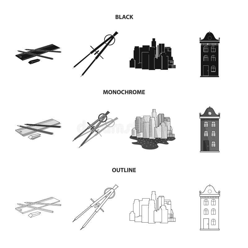 Teckningstillbehör, metropolis, husmodell Fastställda samlingssymboler för arkitektur i svart, monokrom, översiktsstilvektor royaltyfri illustrationer
