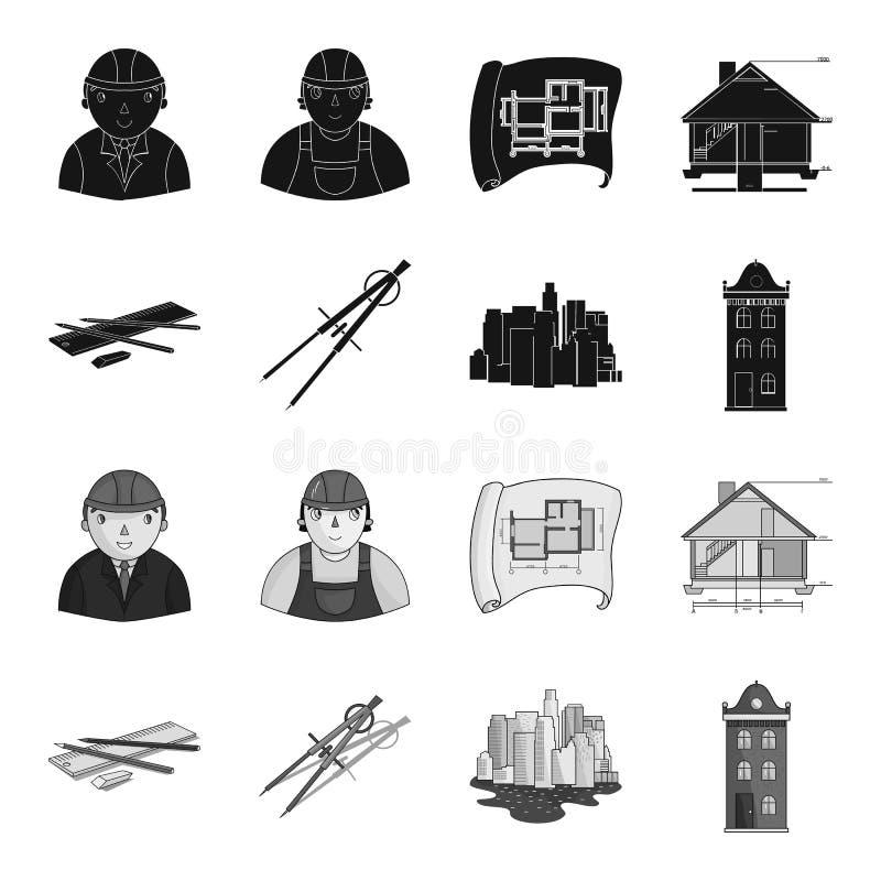 Teckningstillbehör, metropolis, husmodell Fastställda samlingssymboler för arkitektur i svart, monokromt stilvektorsymbol stock illustrationer