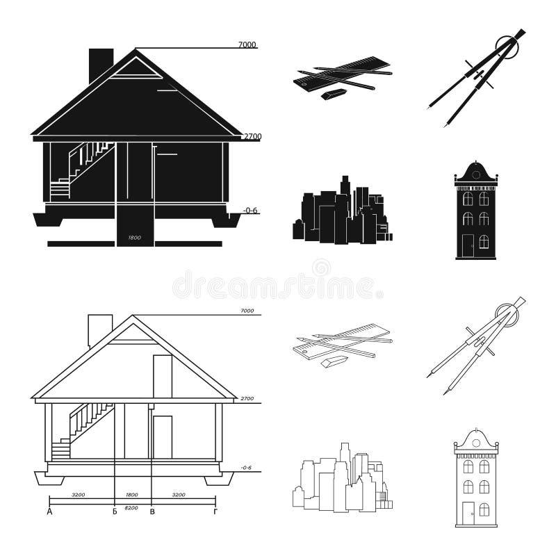 Teckningstillbehör, metropolis, husmodell Fastställda samlingssymboler för arkitektur i svart, symbol för översiktsstilvektor vektor illustrationer