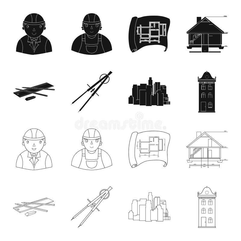 Teckningstillbehör, metropolis, husmodell Fastställda samlingssymboler för arkitektur i svart, symbol för översiktsstilvektor royaltyfri illustrationer