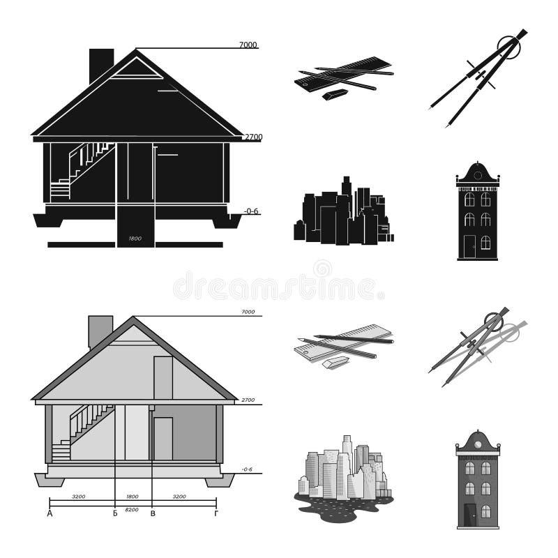 Teckningstillbehör, metropolis, husmodell Fastställda samlingssymboler för arkitektur i svart, symbol för monochromstilvektor vektor illustrationer