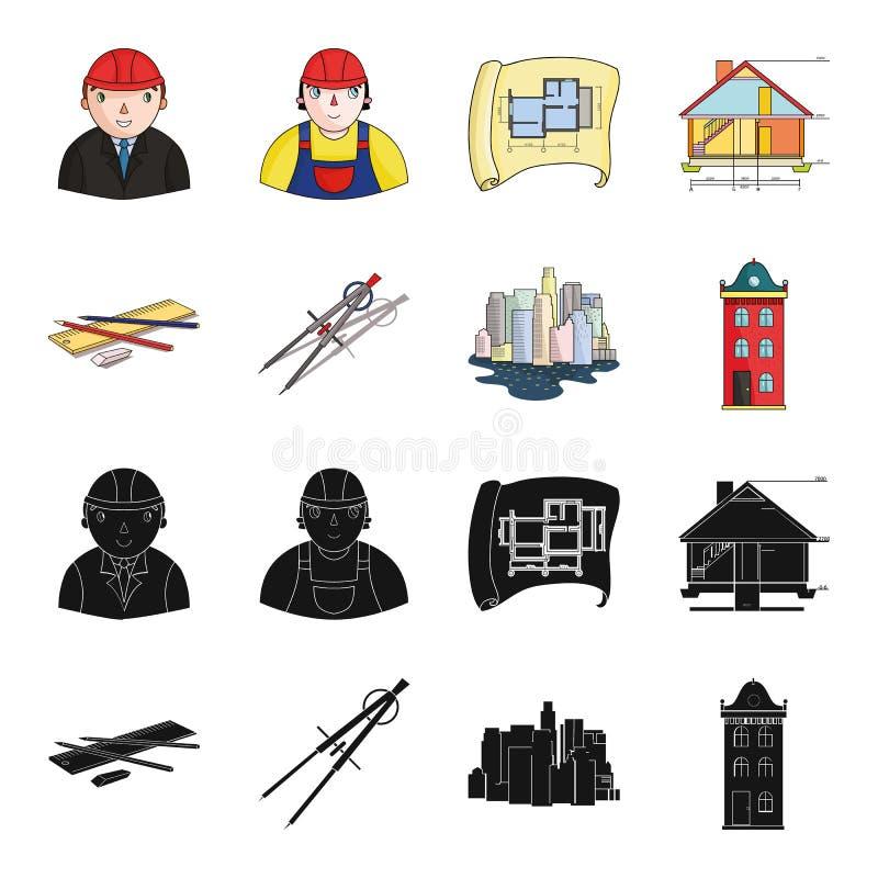 Teckningstillbehör, metropolis, husmodell Fastställda samlingssymboler för arkitektur i svart, symbol för tecknad filmstilvektor royaltyfri illustrationer