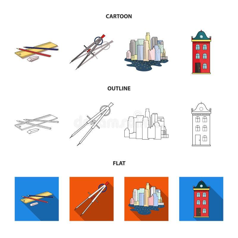 Teckningstillbehör, metropolis, husmodell Fastställda samlingssymboler för arkitektur i tecknade filmen, översikt, lägenhetstilve stock illustrationer