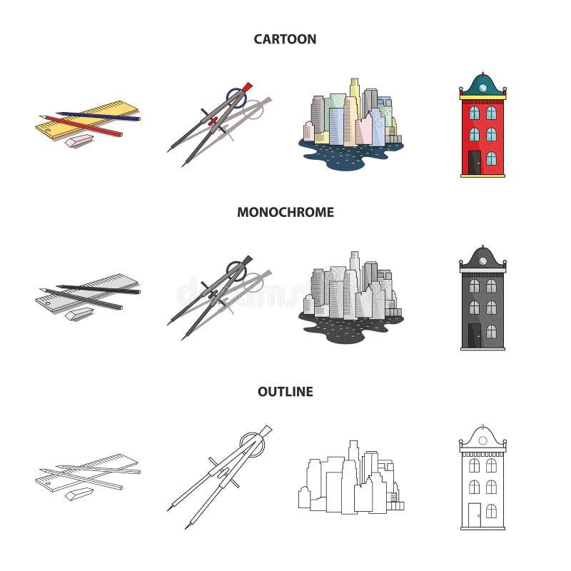 Teckningstillbehör, metropolis, husmodell Fastställda samlingssymboler för arkitektur i tecknade filmen, översikt, monokrom stil stock illustrationer