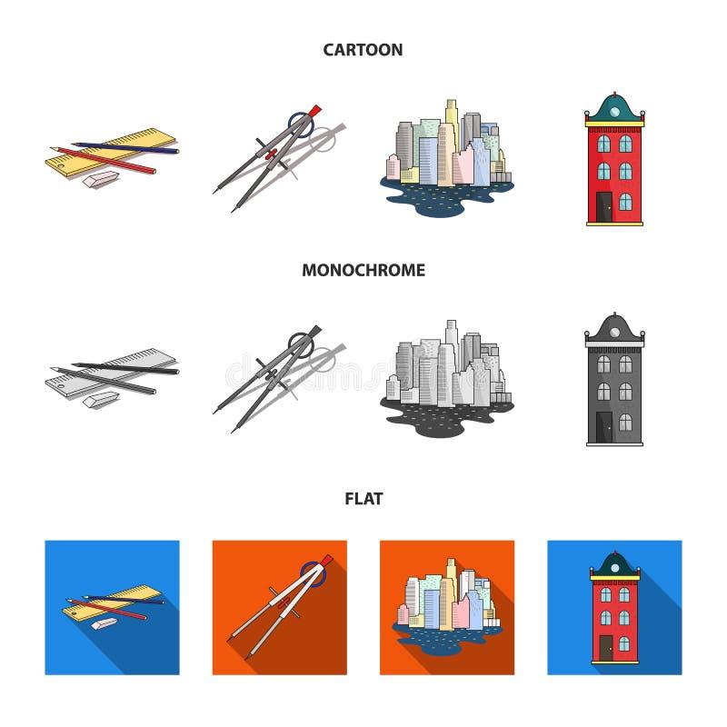 Teckningstillbehör, metropolis, husmodell Fastställda samlingssymboler för arkitektur i tecknade filmen, lägenhet, monokrom stilv vektor illustrationer