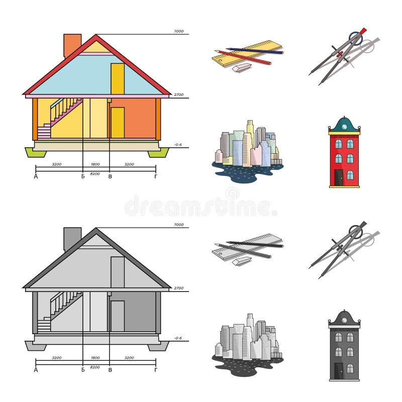 Teckningstillbehör, metropolis, husmodell Fastställda samlingssymboler för arkitektur i tecknade filmen, monokrom stilvektor stock illustrationer