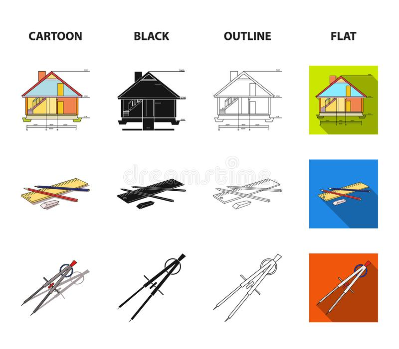 Teckningstillbehör, metropolis, husmodell Fastställda samlingssymboler för arkitektur i tecknade filmen, svart, översikt, lägenhe vektor illustrationer
