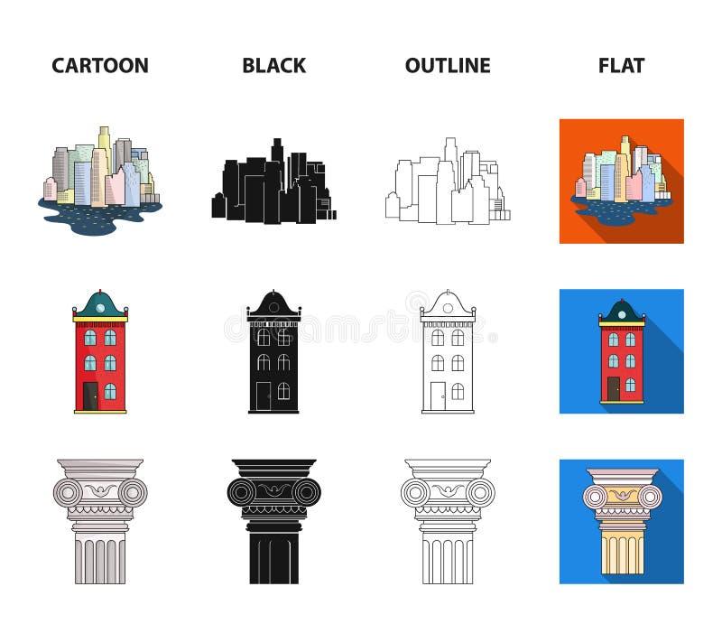 Teckningstillbehör, metropolis, husmodell Fastställda samlingssymboler för arkitektur i tecknade filmen, svart, översikt, lägenhe royaltyfri illustrationer