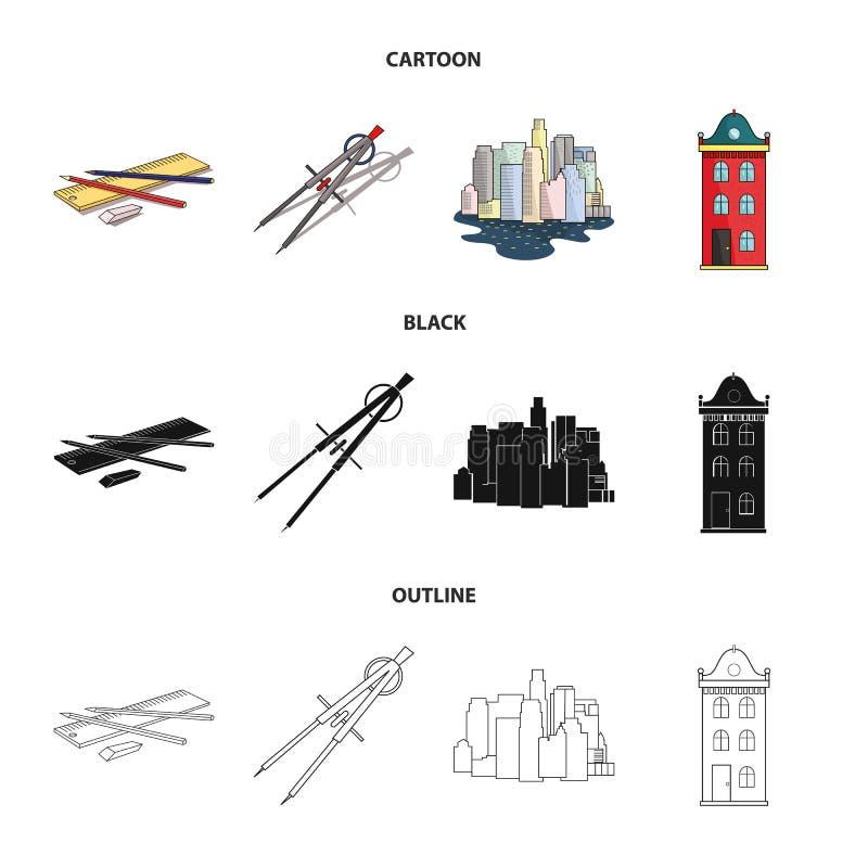 Teckningstillbehör, metropolis, husmodell Fastställda samlingssymboler för arkitektur i tecknade filmen, svart, översiktsstilvekt stock illustrationer
