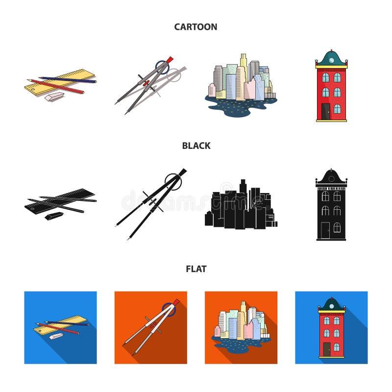 Teckningstillbehör, metropolis, husmodell Fastställda samlingssymboler för arkitektur i tecknade filmen, svart, lägenhetstilvekto royaltyfri illustrationer