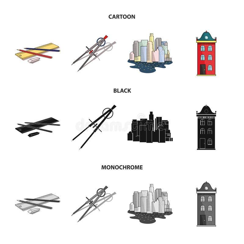 Teckningstillbehör, metropolis, husmodell Fastställda samlingssymboler för arkitektur i tecknade filmen, svart, monokrom stilvekt royaltyfri illustrationer