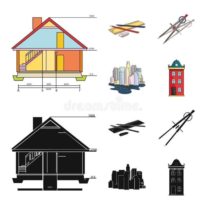 Teckningstillbehör, metropolis, husmodell Fastställda samlingssymboler för arkitektur i tecknade filmen, svart stilvektorsymbol stock illustrationer