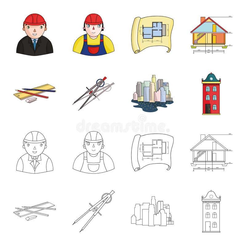 Teckningstillbehör, metropolis, husmodell Fastställda samlingssymboler för arkitektur i tecknade filmen, symbol för översiktsstil stock illustrationer