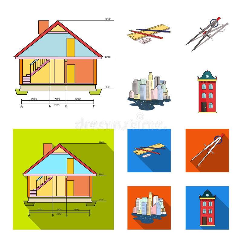 Teckningstillbehör, metropolis, husmodell Fastställda samlingssymboler för arkitektur i tecknade filmen, symbol för lägenhetstilv royaltyfri illustrationer