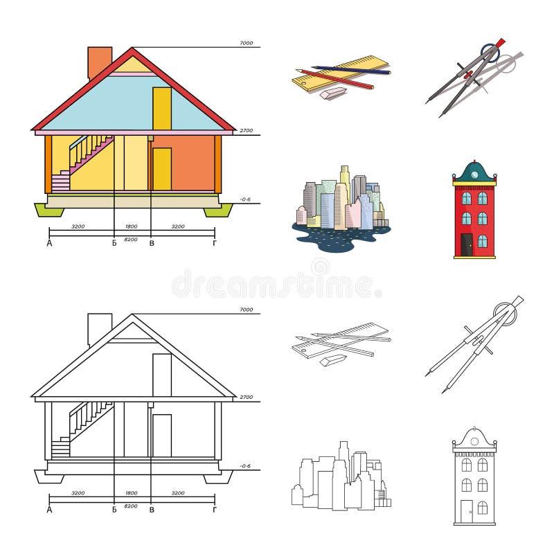 Teckningstillbehör, metropolis, husmodell Fastställda samlingssymboler för arkitektur i tecknade filmen, symbol för översiktsstil royaltyfri illustrationer
