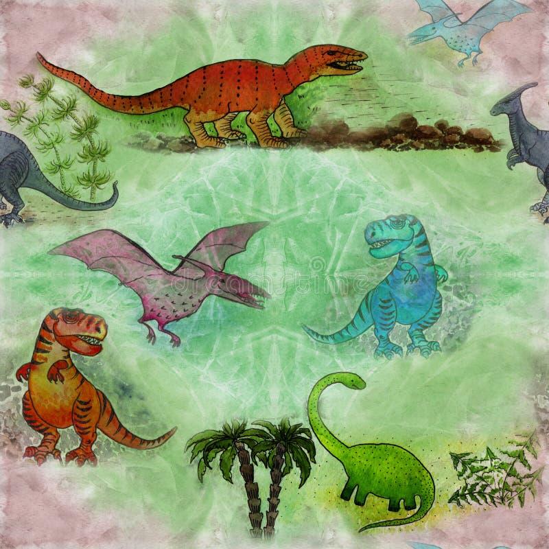 Teckningsvattenfärg seamless modell Dinosaurie och palmträd, tecknad filmtecken vektor illustrationer