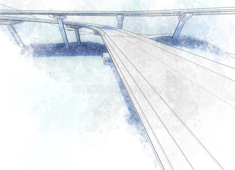 Teckningsviadukt stock illustrationer
