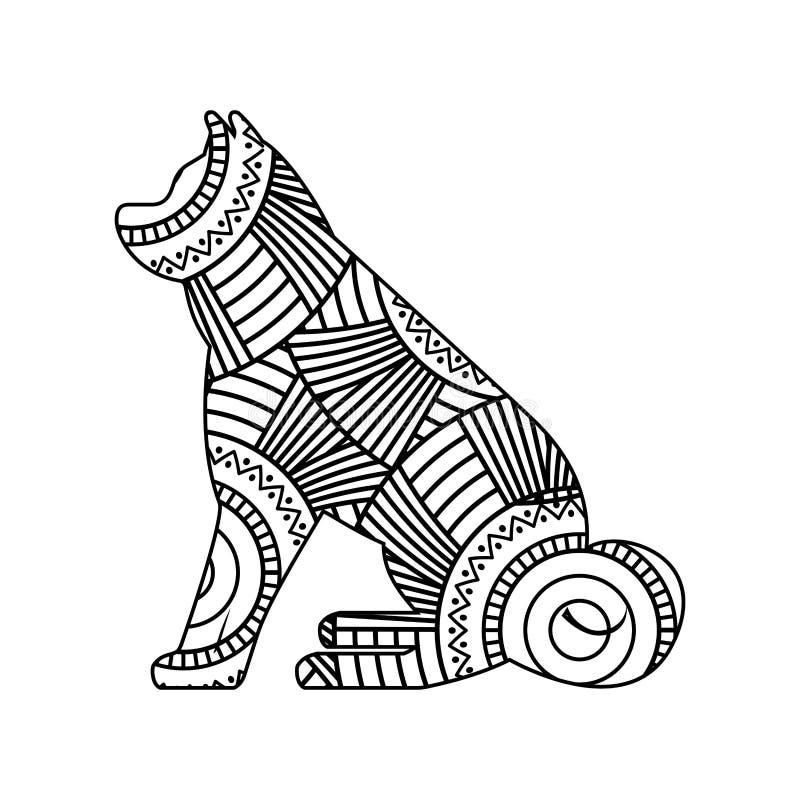 Teckningszentangle för sittande vuxen färgläggningsida för hund vektor illustrationer