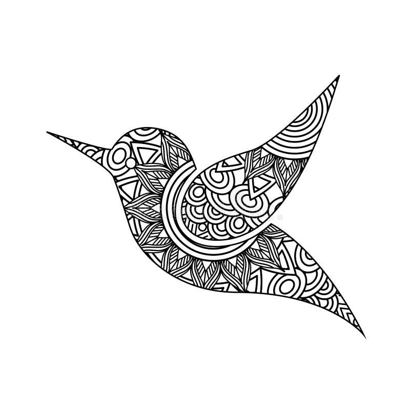 Teckningszentangle för vuxen färgläggningsida för fågel stock illustrationer