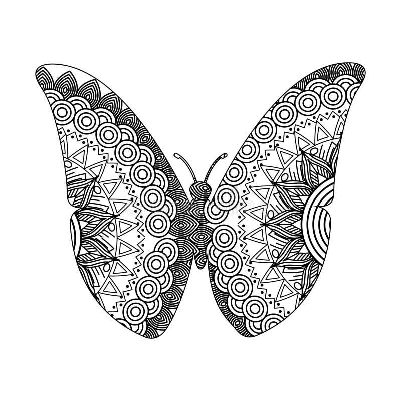 Teckningszentangle för vuxen färgläggningsida för fjäril stock illustrationer