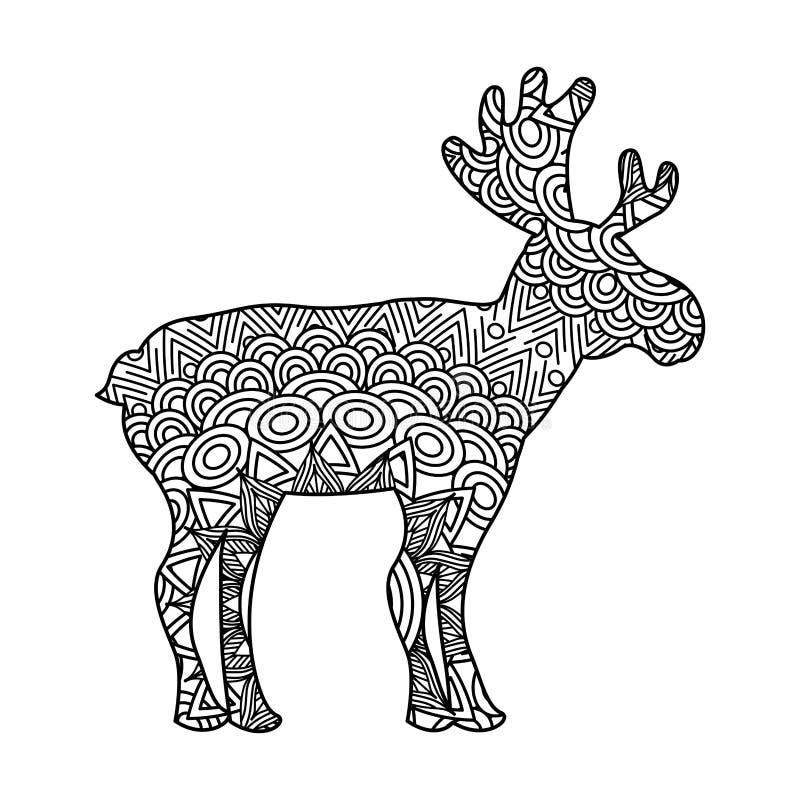 Teckningszentangle för vuxen färgläggningsida för hjortar royaltyfri illustrationer