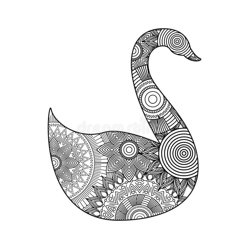 Teckningszentangle för vuxen färgläggningsida för svan royaltyfri illustrationer