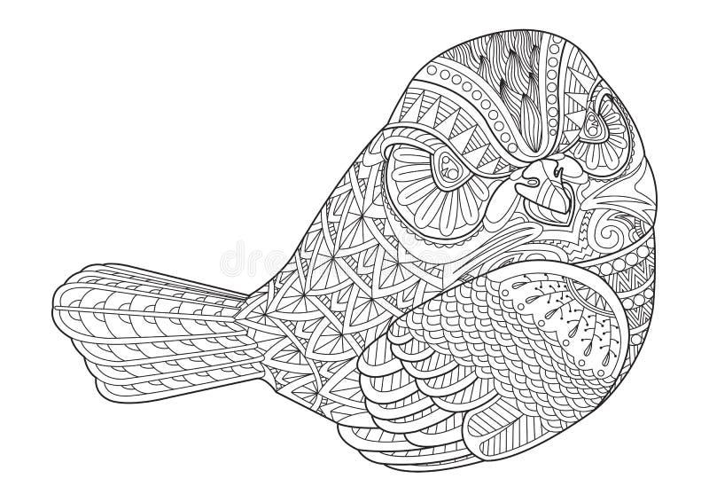 Teckningszentanglefågel för att färga sidan, skjortadesigneffekt, l royaltyfri illustrationer