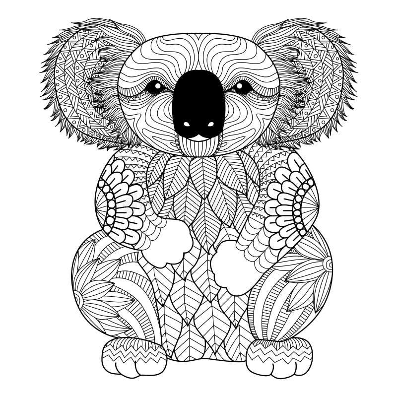 Teckningszentanglekoala för att färga sidan, skjortadesigneffekt, logo, tatueringen och garnering stock illustrationer