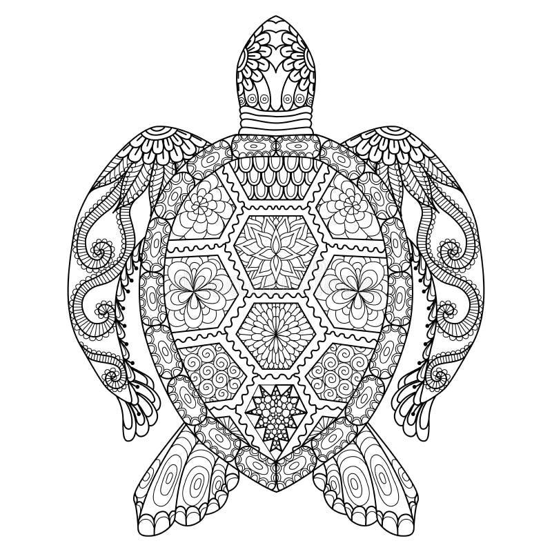 Teckningszentanglesköldpadda för att färga sidan, skjortadesigneffekt, logo, tatueringen och garnering royaltyfri illustrationer