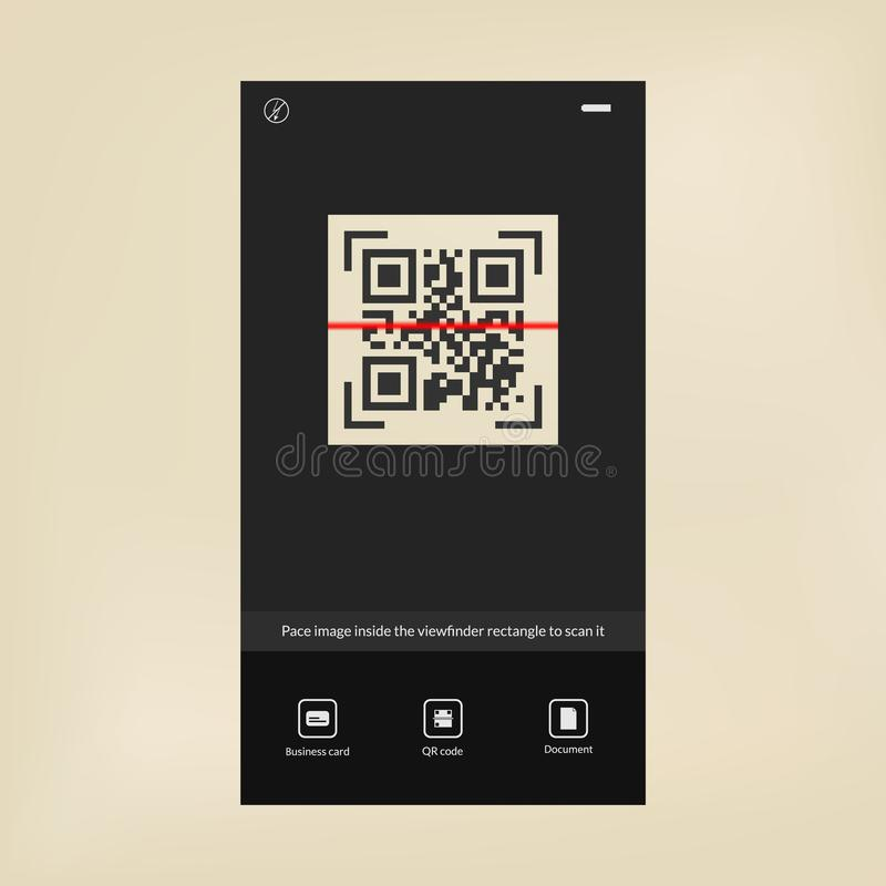 Tecknology moderne Scanner de code de QR Interface de lecteur de code barres illustration de vecteur