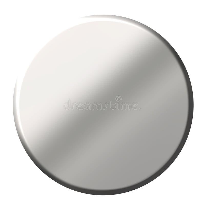 tecla 3D circular de aço ilustração do vetor