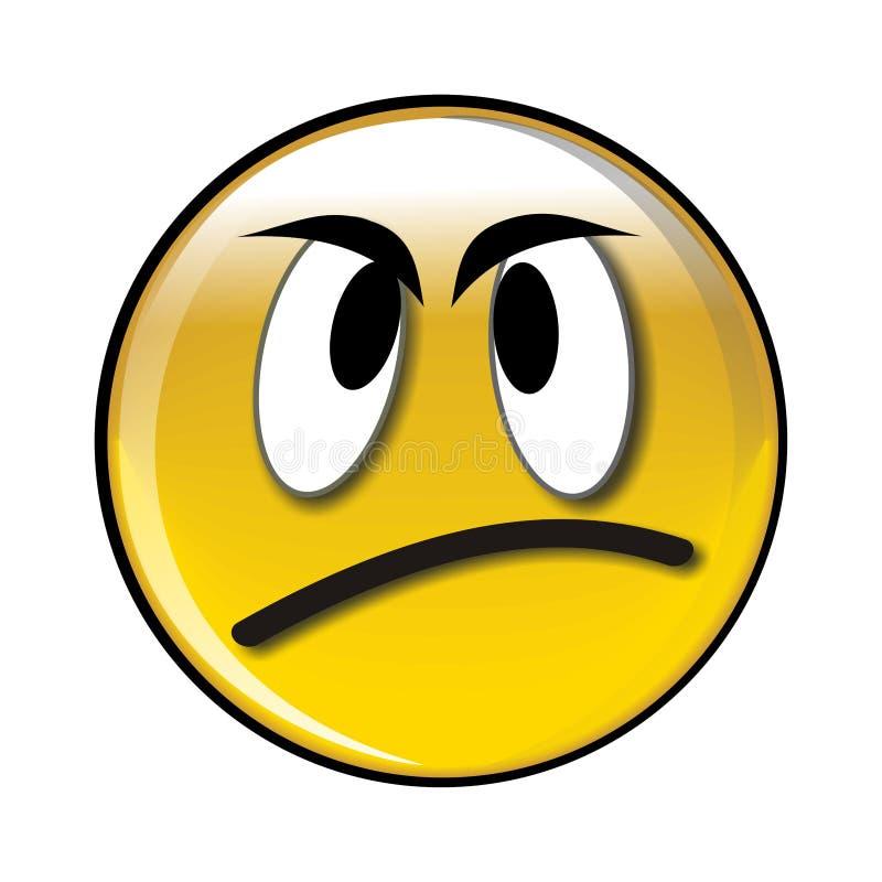 Tecla amarela lustrosa má do smiley ilustração do vetor