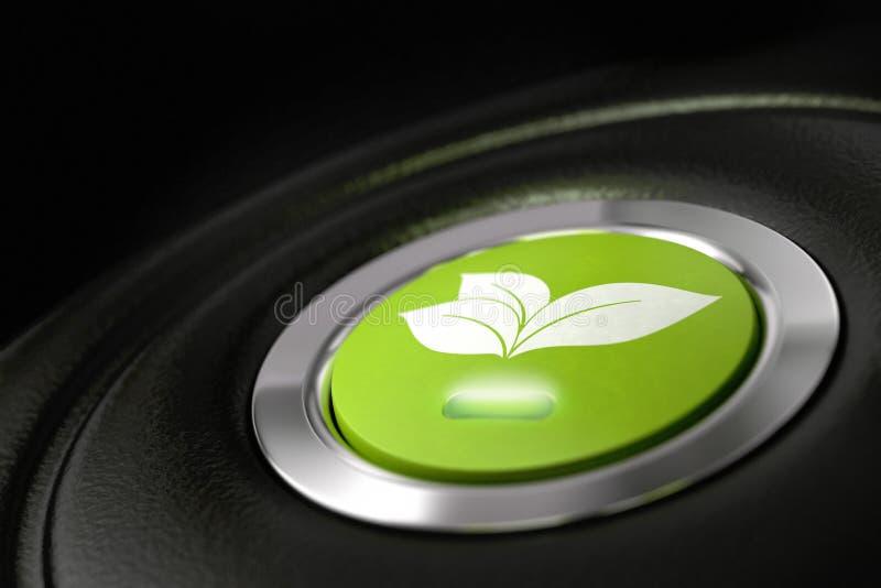 Tecla amigável do carro do eco verde ilustração royalty free