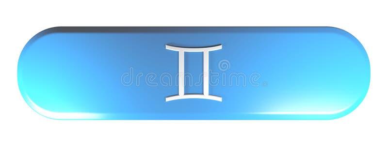 Tecla arredondada azul do retângulo do ÍCONE dos GÊMEOS do ZODÍACO - ilustração da rendição 3D ilustração do vetor