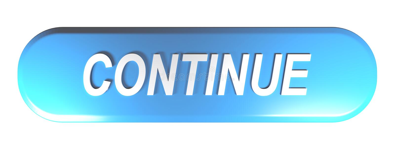 A tecla arredondada azul do retângulo CONTINUA - a ilustração da rendição 3D ilustração stock