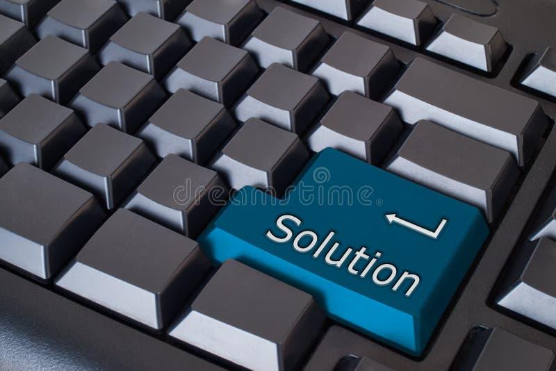 tecla azul da solução ilustração stock