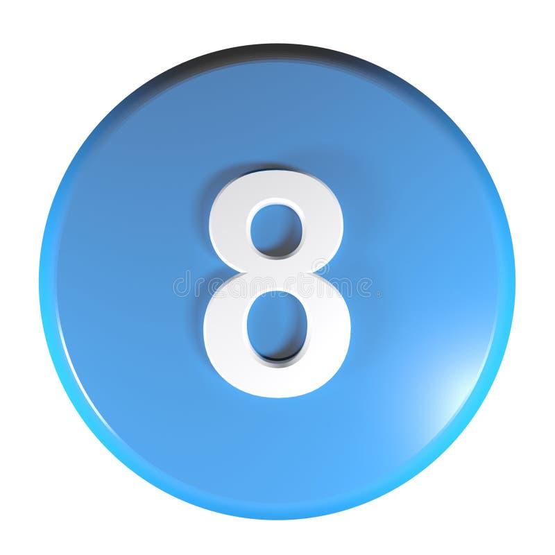 Tecla azul do círculo do número 8 - ilustração da rendição 3D ilustração stock